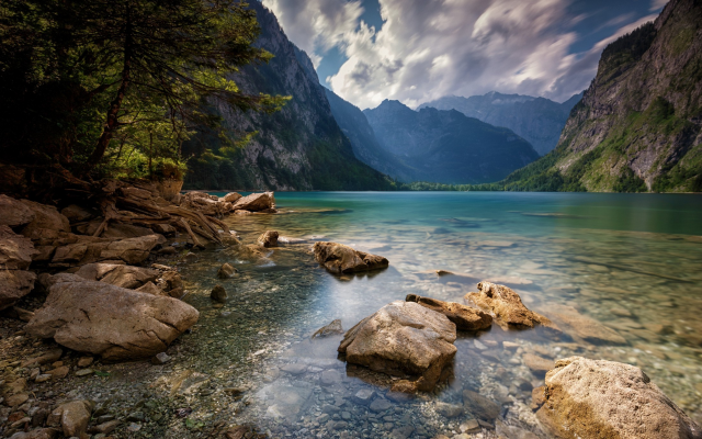 2200x1375 pix. Wallpaper nature, landscape, Alps, summer, lake, mountain, trees, clouds, water