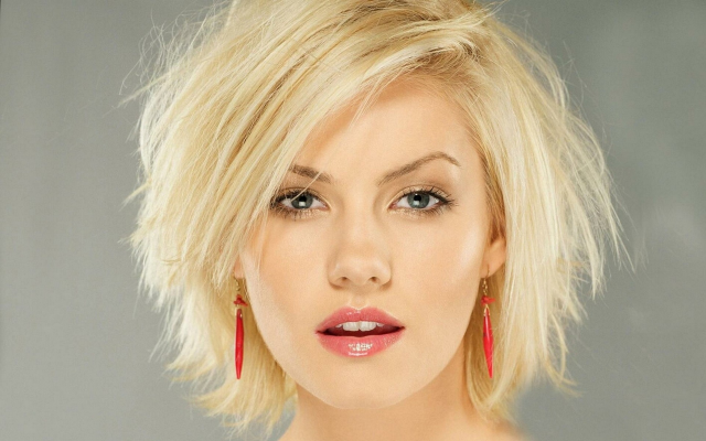 1920x1200 pix. Wallpaper Elisha Cuthbert, women, blonde, blue eyes, short hair, open mouth, earrings, face, portrait