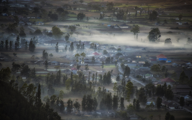 2100x1315 pix. Wallpaper Indonesia, landscape, nature, mist, valley, village, morning, tree, fog