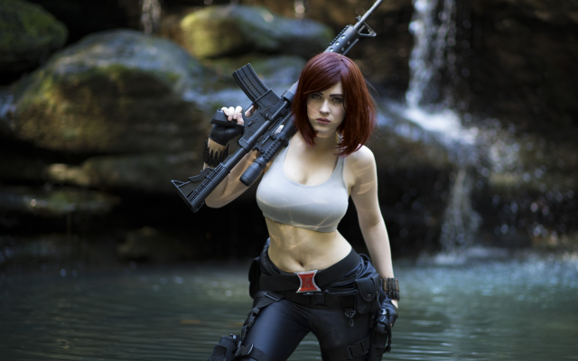 2418x1737 pix. Wallpaper cosplay, women, model, gun, water, waterfall
