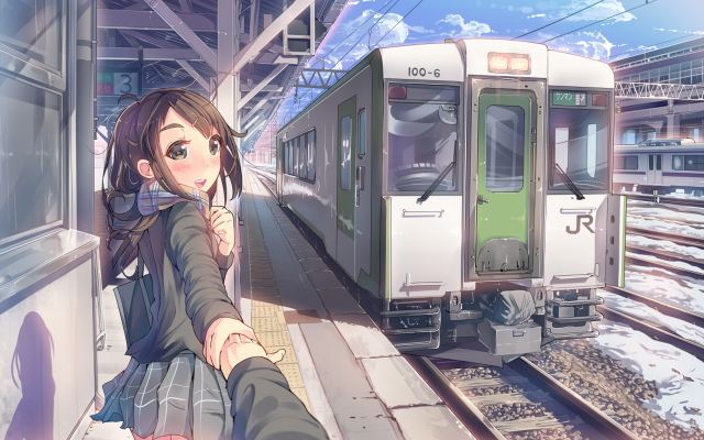1920x1296 pix. Wallpaper artwork, anime girls, anime, train, train station, scarf, original characters