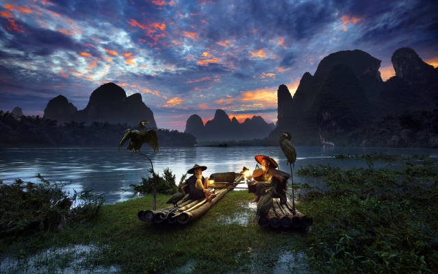 1920x1200 pix. Wallpaper guilin, men, fisher, china, landscape, nature, mountain, sky, river, clouds, boat, bird