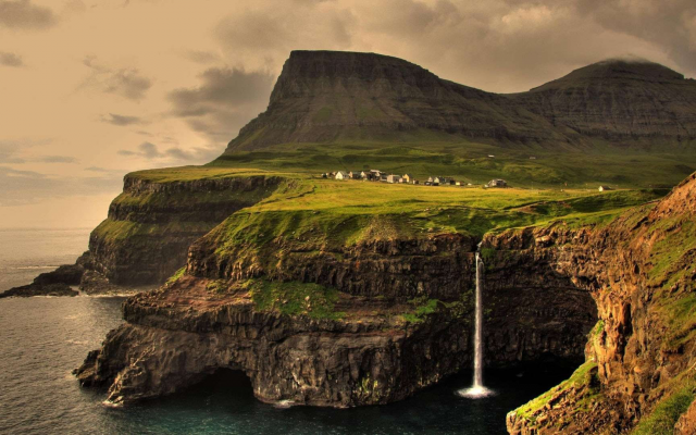 1920x1080 pix. Wallpaper faroe islands, waterfall, hill, nature, landscape