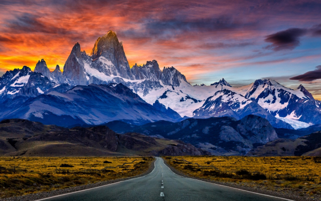 Wallpaper Road Mountains Sunset Snowy Peak Argentina Sky
