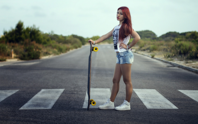 2048x1365 pix. Wallpaper skateboards, women, redhead, roads, jean shorts, longboards