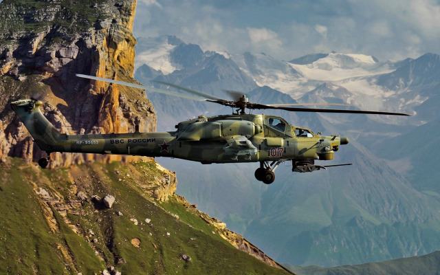 1920x948 pix. Wallpaper Mil, Mi-28, helicopters, military, Russian Air Force, mountains