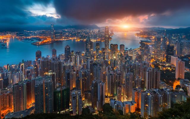 Wallpaper Hong Kong City Victoria Harbour Morning Sunrise