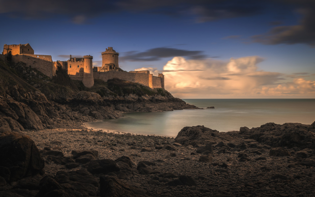 2048x1190 pix. Wallpaper Fort-la-Latte, Castle of La Latte, landscapes, coastal, Castle, fort, Britanny, France, clouds
