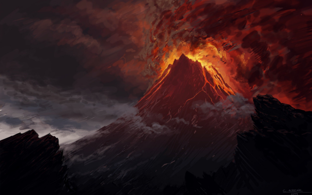 Wallpapers mount doom, volcano, the lord of the rings, artwork, lava