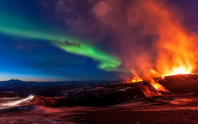 Wallpapers Iceland Northern Lights Volcano Night Nature