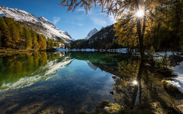 2500x1563 pix. Wallpaper nature, landscapes, lakes, Alps, mountains, forests, reflection, snowy peaks, fall, water, sunrise