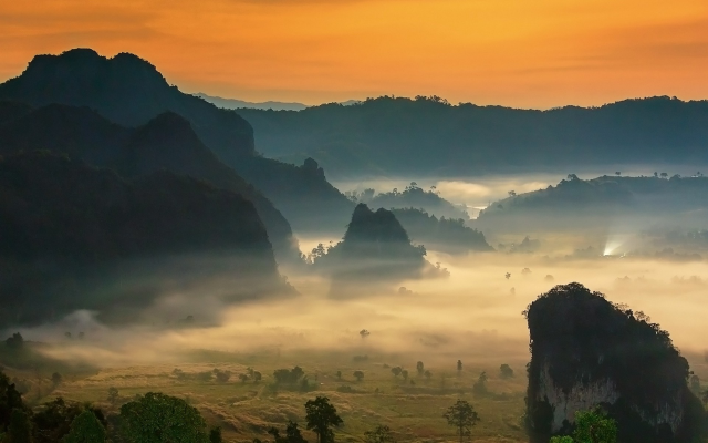 1920x1200 pix. Wallpaper Phu Lang Ka, Phu LangKa, Thailand, mist, sunrise, mountains, valleys, nature, landscapes, fields, tr