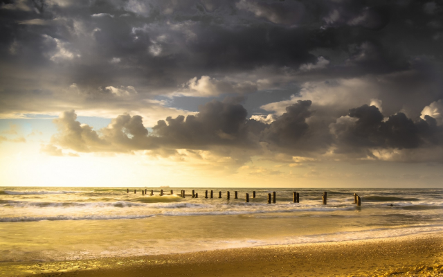 1920x1200 pix. Wallpaper nature, landscapes, clouds, old, docks, beach, sea, waves, sand, sunset