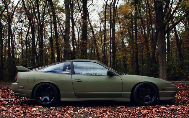 Wallpaper Nissan 180sx Car Autumn Leaf Forest