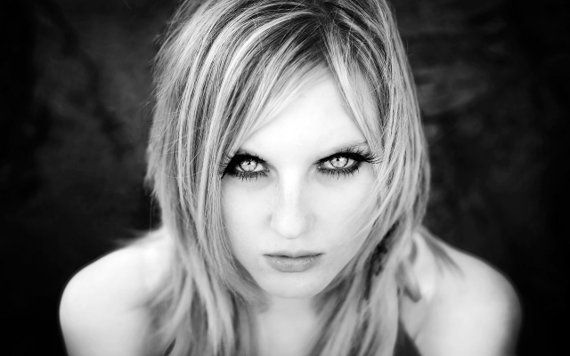 1920x1200 pix. Wallpaper portraits, blondes, women, eyes, monochrome, hypnotic, young girl