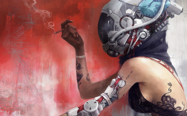 1920x1080 pix. Wallpaper women, digital art, robots, cyborgs, technology, helmets, cigarettes, bare shoulders, pipes, cables,