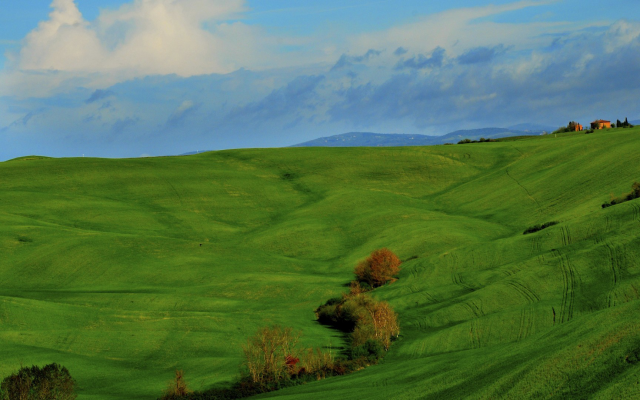 1920x1080 pix. Wallpaper Italy, Tuscany, nature, landscape, clouds, hill, grass, field, trees, house, green