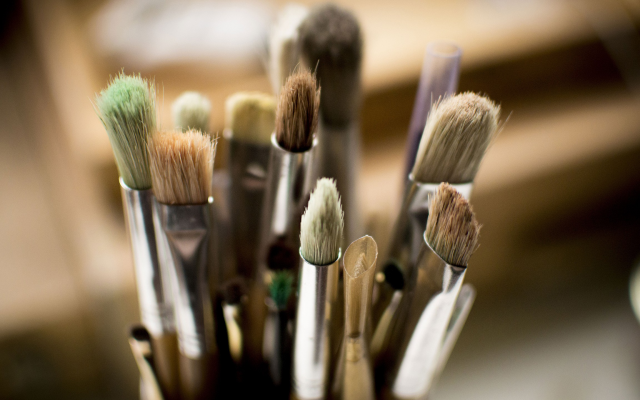 2560x1440 pix. Wallpaper paintbrushes, macro