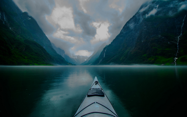 Wallpaper Kayak Fjord Mountains Norway Morning Landscape