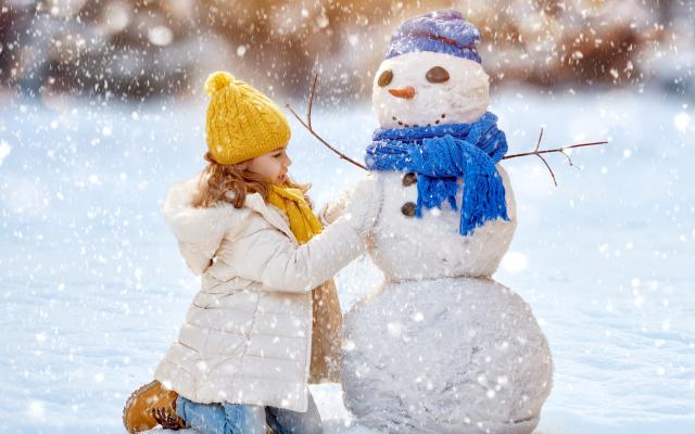 Wallpaper snowman, new year, christmas, snow, winter, girl