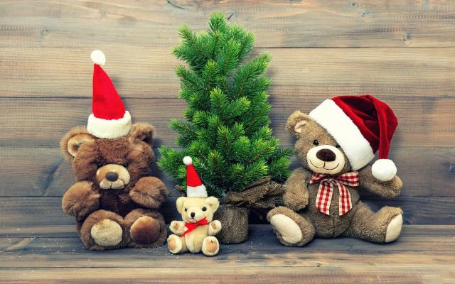 Wallpaper teddy bear, christmas, christmas tree, toy