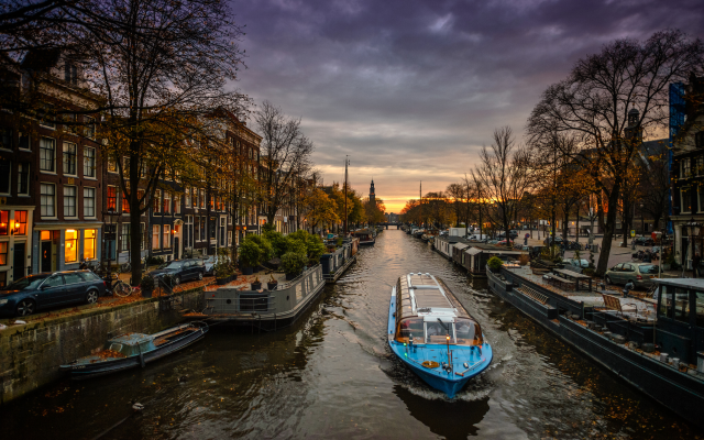 Wallpaper Amsterdam Canal Boat Netherlands City Evening
