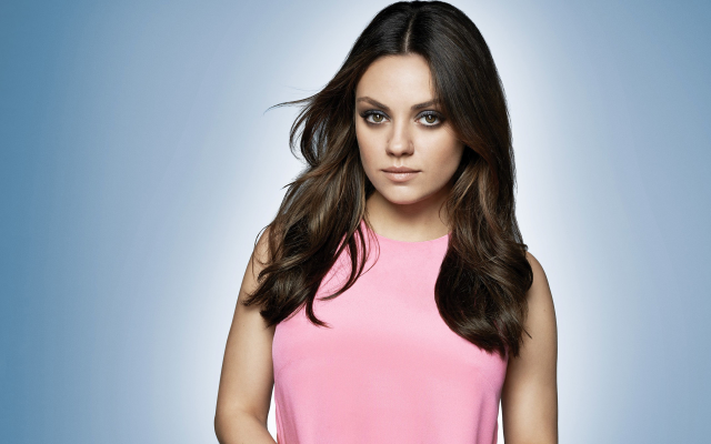 2560x1600 pix. Wallpaper Mila Kunis, actresses, celebrities, brunette, simple background, women, brown eyes