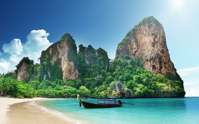 1920x1080 pix. Wallpaper krabi, thailand, long-tail boat, ruea hang yao, beach, sea, sand, boat, nature, mountains