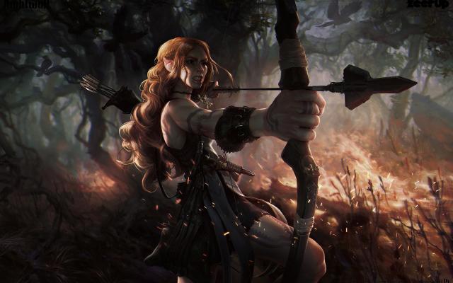 Wallpaper Fantasy Art Archer Bow Arrow Elf