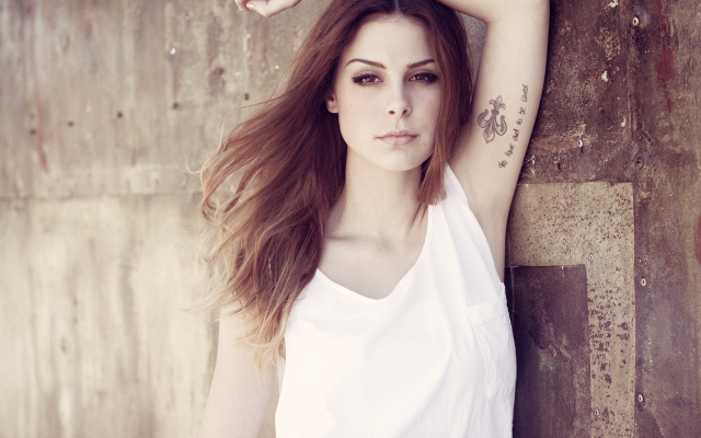 1920x1200 pix. Wallpaper women, auburn hair, long hair, tank tops, arms up, Lena Meyer-Landrut, brown eyes