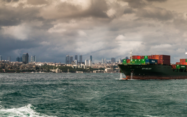 1920x1200 pix. Wallpaper Turkey, Istanbul, city, cityscape, ship, container ships, sea, clouds