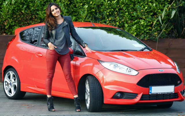 1920x1080 pix. Wallpaper ford fiesta, women with cars, red car, ford, cars. smiling, brunette