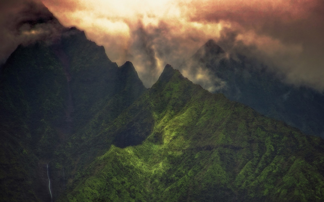 1920x1080 pix. Wallpaper Kauai, Hawaii, landscape, nature, clouds, sunrise, mountain, creeks, green