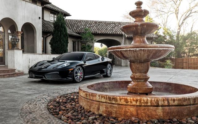 Wallpaper Ferrari F430, Car, Sports Car, Ferrari, Fountain,