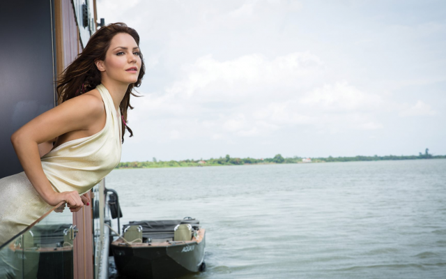 1920x1080 pix. Wallpaper katharine mcphee, singer, actress, models, cbs watch, dress, brunette, water, boat