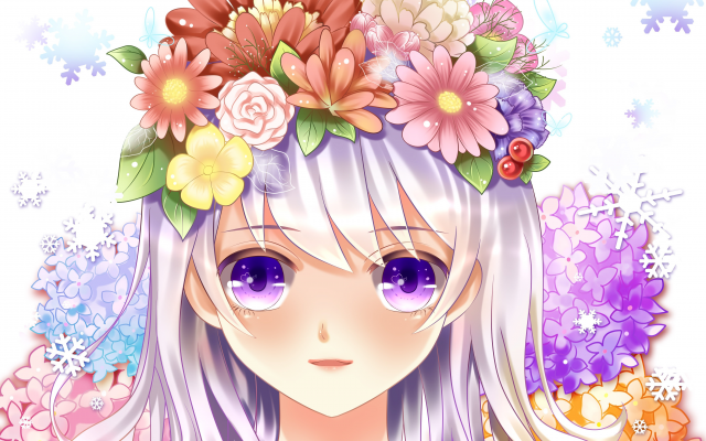 4724x3789 pix. Wallpaper art, yuri, girl, face, eyes, flowers, roses, anime