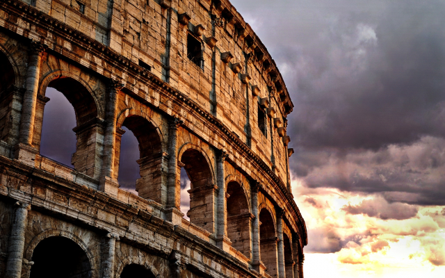 2048x1371 pix. Wallpaper colosseum, rome, italy, dark clouds, city, sunset