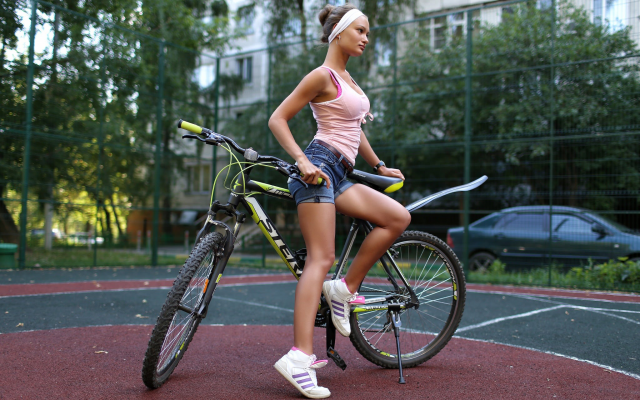 2048x1365 pix. Wallpaper women, jean shorts, shoes, women with bikes, looking away