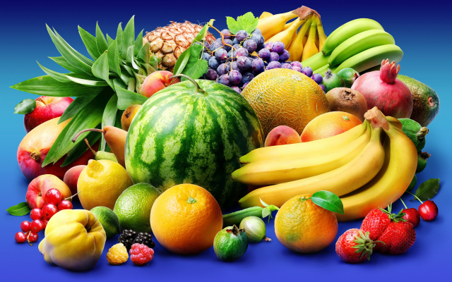 7086x4724 pix. Wallpaper fruits, watermelon, banana, orange, melon, grapes, strawberry, pineapple, food
