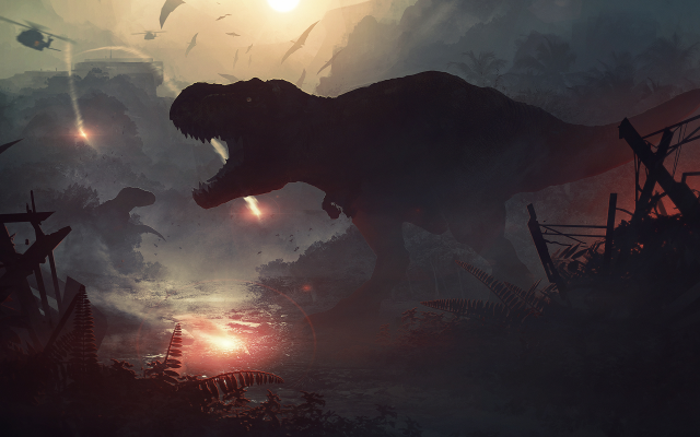 2500x1200 pix. Wallpaper jurassic world, tyrannosaurus rex, dinosaurs, movies, helicopter, art