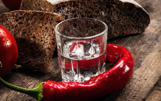 2719x2009 pix. Wallpaper vodka, pepper, tomatoes, bread, food