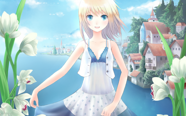 2300x1700 pix. Wallpaper art, minato, shouno, girl, flowers, lake, anime