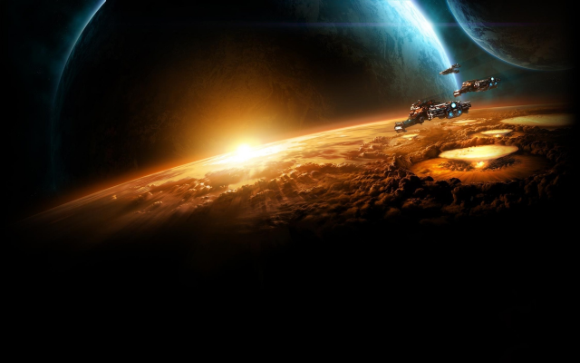 1920x1200 pix. Wallpaper space, spaceship, planet, evacuation, destruction, starcraft 2, video games, art