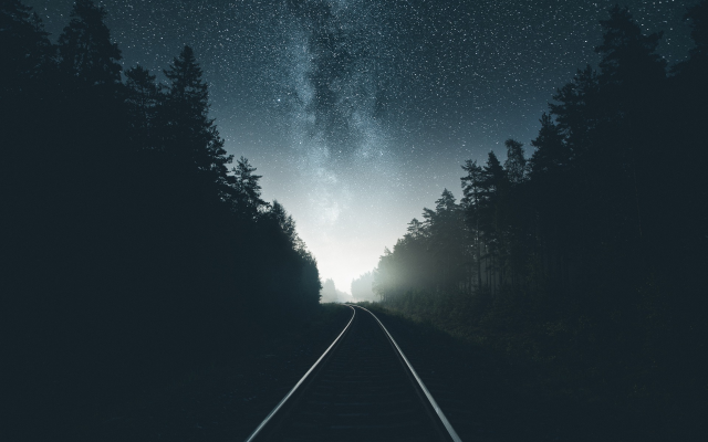 Wallpaper Road Forest Milky Way Stars Sky Night