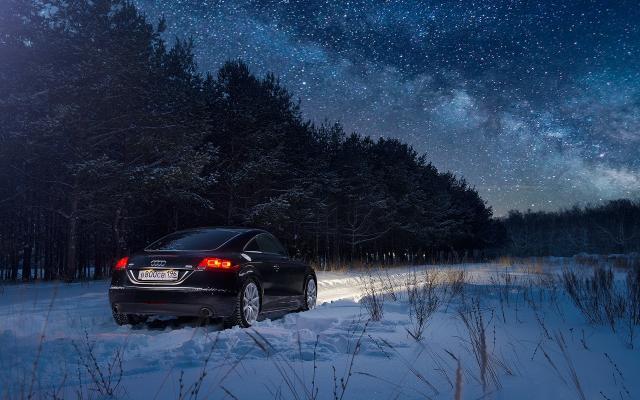 Wallpaper Audi Winter Night Forest Snow Cars