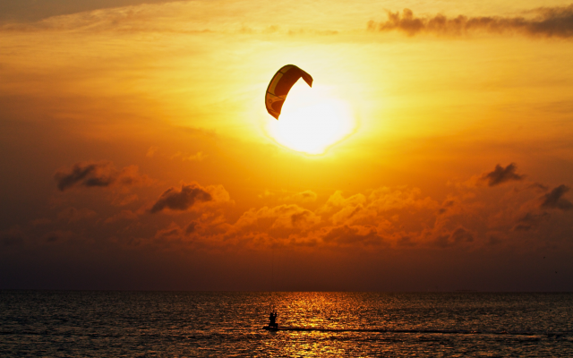 2592x1728 pix. Wallpaper kitesurfing, sport, sea, extreme, beautiful, sun, sunset, nature