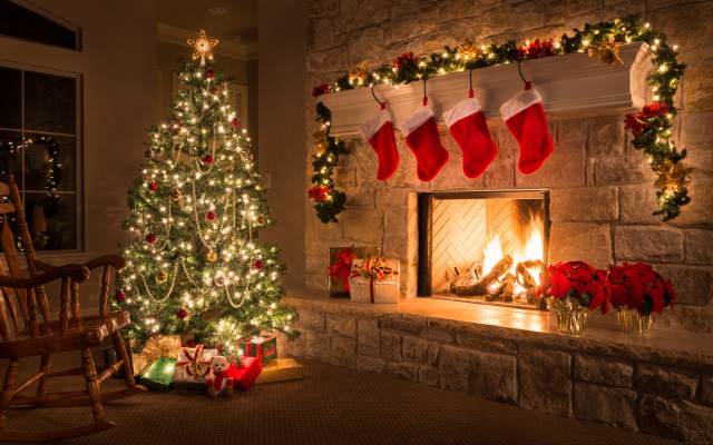 Wallpaper christmas, holidays, fireplace, new year, christmas tree, comfort