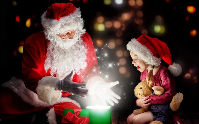 Wallpaper christmas, new year, gifts, girl, teddy bear, santa claus, holidays
