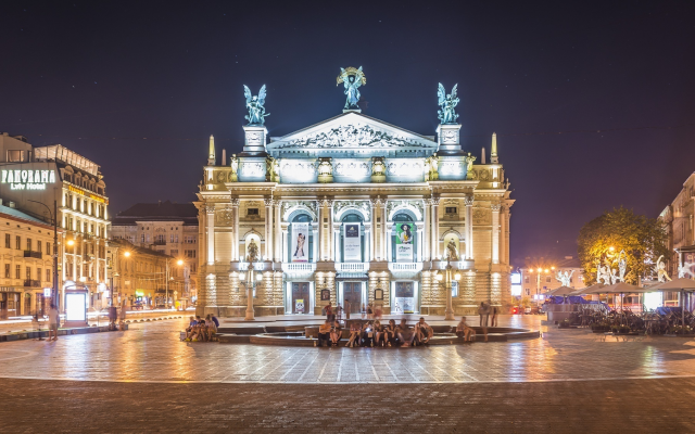 2000x1131 pix. Wallpaper opera, lviv, theatre, city, ukraine, night, lights, lviv theatre of opera and ballet