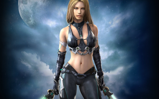 2400x1800 pix. Wallpaper s-girl, cg, sky, moon, warrior, sword